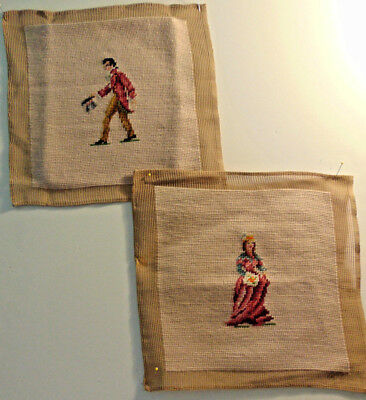 "Pair of Vintage Needlepoint Completed Victorian Man & Woman ""UnFramed"" 10 x 10"