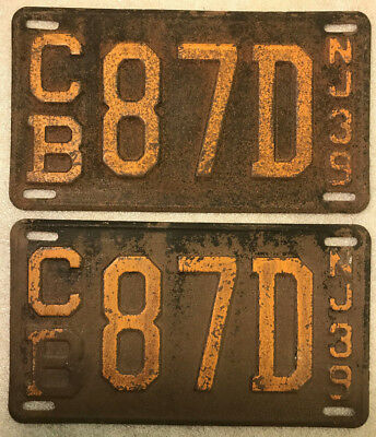 Vintage Matching Pair of 1939 New Jersey Liscence Plates