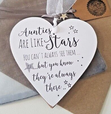 Aunties are like stars Plaque Gift Personalised Handmade Auntie 12cm heart Rd