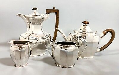 Vintage silver on copper plated panelled 4pc coffee tea set rosewood handle