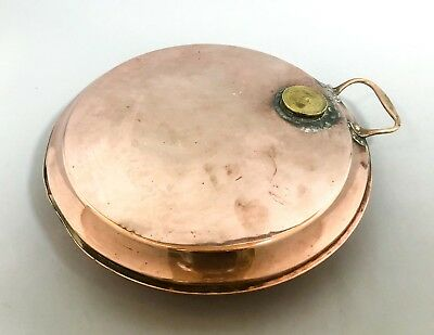 Antique Victorian large copper brass bed warming pan shabby chic decor retro