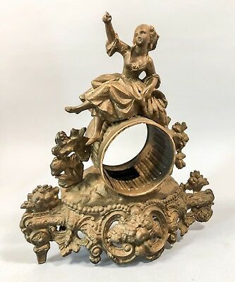Antique French ormolu gilt mantle clock case figural floral young girl Rococo