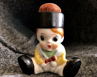 Vintage Porcelain Made In Japan Sewing Pin Cushion/Figurine Boy With Top Hat