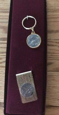 VINTAGE 2Gr Fine Silver .999 key ring & Money Clip - New!