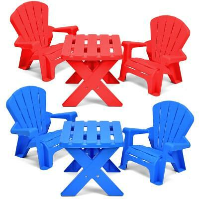 Children Plastic Table And Chairs Kids Nursery Garden Play Set