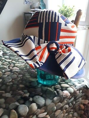 Stunning Vintage Hat Orange, White and Blue Geometric Design With Bow