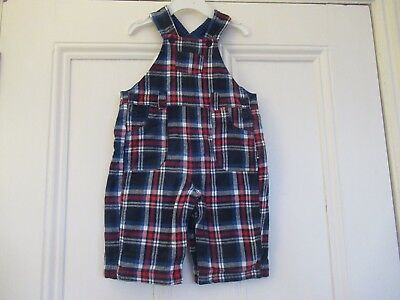 6-12m: Brushed cotton checked dungarees: Soft stripey lining: JoJo Maman Bebe