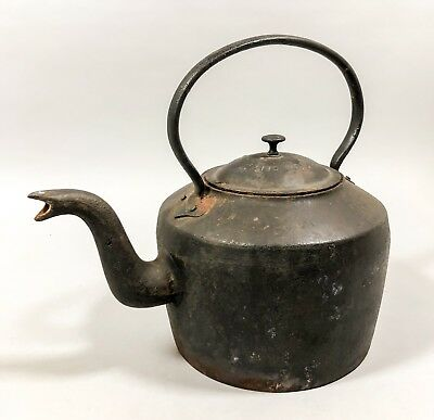 Antique Victorian No. 4 huge cast iron fireside kettle family size Gypsy pot 4kg