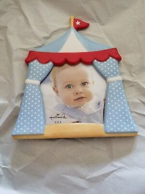 Hallmark Baby FRG7065 Circus Tent Boy Photo Frame Blue Ceramic 4 X 4 new in box
