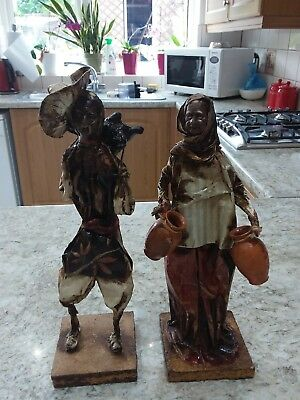 PAIR OF MEXICAN FOLK ART PAPER MACHE FIGURES  30cms TALL