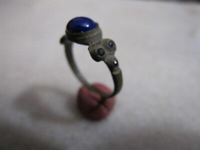 Antique Late Medieval Bronze Ring With  Blue Glass Stones