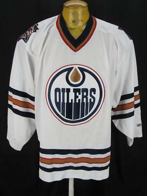 Mens Edmonton Oilers SEWN Distressed CCM NHL Hockey Jersey XL Great Pick up Game