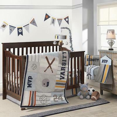 Lambs & Ivy Varsity Gray/Blue 6-Pc Crib Bedding Set Include Mobile/Blanket *New*