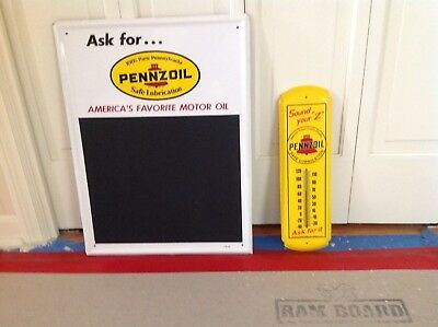 VINTAGE PENNZOIL MENU/ CHALKBOARD METAL SIGN and THERMOMETER. 5-66
