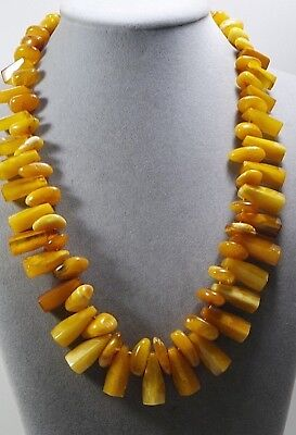 Vintage Genuine Egg Yolk Butterscotch  Baltic Amber Bead Necklace 64 Grams