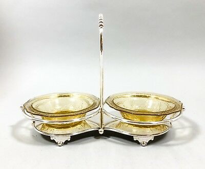 Antique silver plate condiment sugar jam dessert stand yellow depression glass