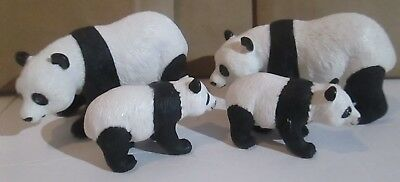 "Panda Bear & Cub 1996 Black & White Toy Safari Ltd Hard Rubber 4""x2.5"" lot of 4"