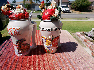 Santa Clause and Coca Cola Beer Steins with Lids Collector Steins