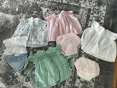 Vintage Pink Green Blue Organza Ruffle Bloomers Bottom Baby 9 Mo. Girl Dress Lot