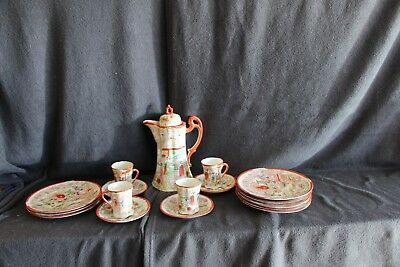 Vintage TAKITO Satsuma Tea Set Tea Pot & (4) TEACUPS w/ Saucers (4) Lunch Plates
