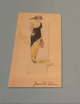 Vintage 1920's Valentine Greetings Card Young Woman Wearing Great Flapper Dress