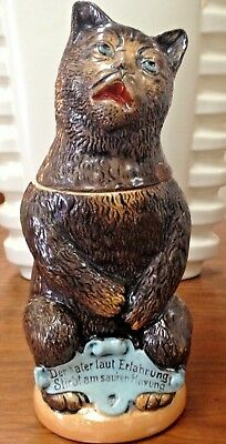 Figural Character Ceramic German Beer Stein Cat made in Germany