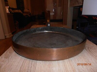"Antique Victorian Adam & Son Large 12"" Copper Frying Pan with Steel Handle"