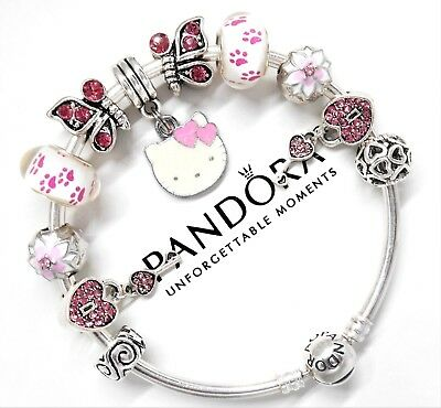 0b7b0ab2a5373 AUTHENTIC PANDORA SILVER Charm Bracelet With Pink Hello Kitty European  Charms...