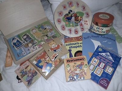WOODEN PUZZLES TOY'S books Job Lot Bundle buttons teddy clock education child's