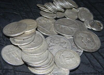 90% SILVER coins $10 face, DIMES, QUARTERS, HALF DOLLARS OLD US SILVER COINS