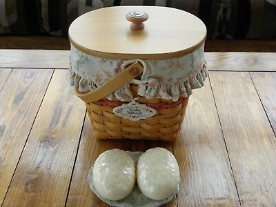 MINT Longaberger 2001 Mother's Day Vintage Blossoms Basket combo.Lid,liner,tieon