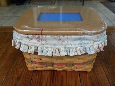 MINT Longaberger 2002 Mother's Day Mom's Memories combo.Wooden lid Liner,protect