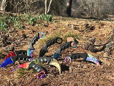 "7.5"" CSGO Tactical Karambit Combat Knife Fixed Blade Hawkbill Neck Doppler NEW"