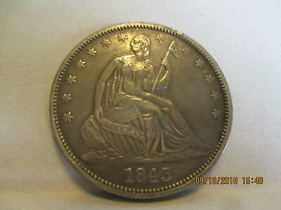 1843 Liberty Seated Silver Half Dollar Extra Fine Plus Condition