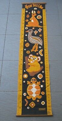 retro 1970s CHILDRENS KIDS printed linen WALL HEIGHT CHART Australian animals