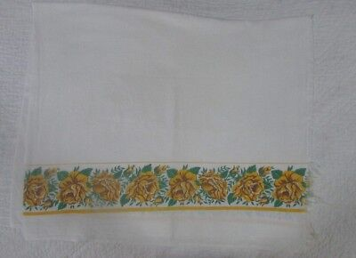 Vintage Feedsack For Pillowcase Or Crafting - Yellow Roses