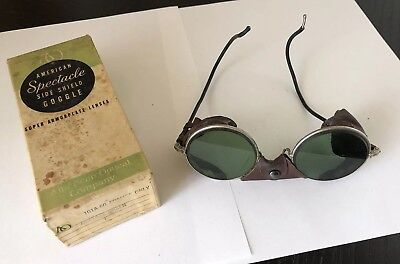 Vintage AO Riding Glasses Safety Goggles Green Lens Steampunk Leather Sides