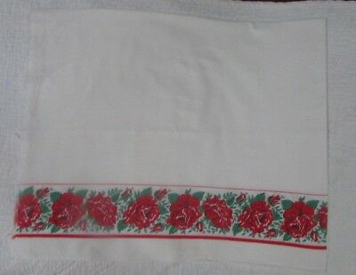 Vintage Feedsack For Pillowcase Or Crafting - Red Rose Border
