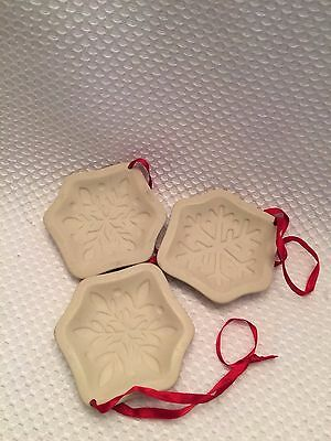 3 Longaberger Pottery Snowflake Cookie Mold Christmas Ornaments