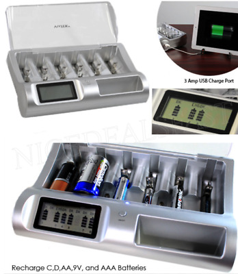 Renu-It Deluxe Battery Charger NiMH & NiCD,AA, AAA, C, D, 9V Alkaline Disposable