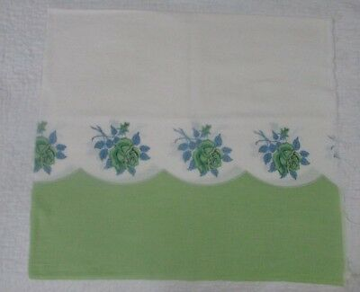 Vintage Feedsack For Pillowcase Or Crafting - Green Roses And Green Border
