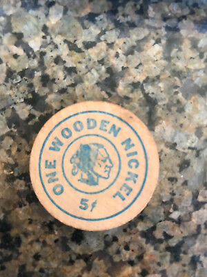 One Wooden  Nickel 5 Cents Good  For  General Cinema Drive- In Theatre