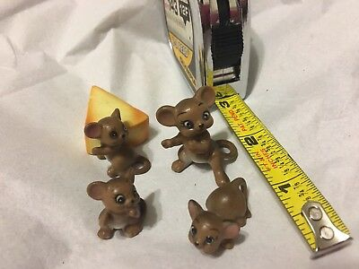 "Josef Originals Lot Of 4 Mice Brown Mouse Miniature  1 Inch 1.25"" Cheese Wedge"