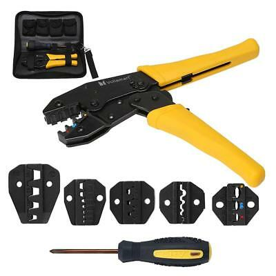Voilamart Crimping Tool Kit Terminal Ratchet Plier Crimper 5 Interchangeable...