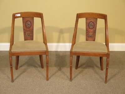 LF41408C: Pair Antique Spanish Continental Chairs w. Hand Painted Back Chairs