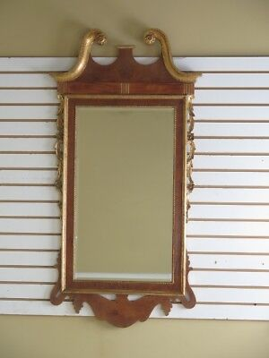 F29519: LABARGE Georgian Style Walnut and Gold Beveled Glass Mirror