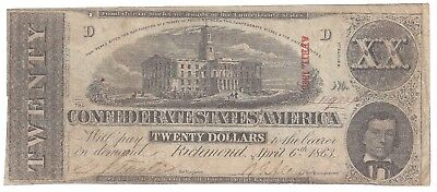CSA $20.00 Note T58 1863