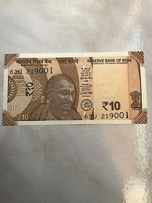 New Indian 10 Rupees Currency Mahatma Gandhi on the front and Sun Temple on back
