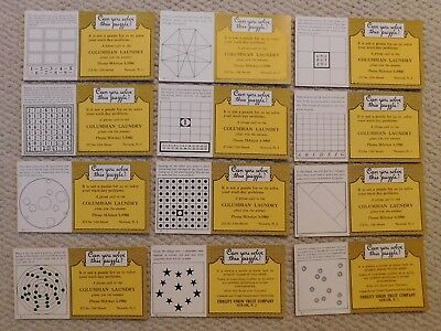 """Vintage Lot Of 12 """"can You Solve This Puzzle?"""" Ink Blotters Bank & Laundry N.j."""