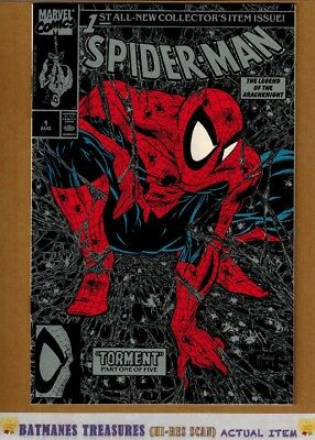 Spider-Man #1 (9.4) NM Silver Rare No Price On Cover Variant 1990 Todd McFarlane